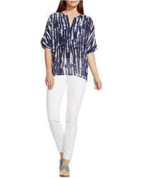 Two By Vince Camuto - Shibori Tie-dyed Swing Blouse - Lyst