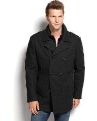 Marc New York Wool-Blend Knit-Bib Double-Breasted Pea Coat - Lyst