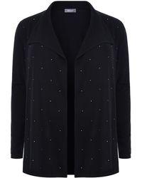 Basler - Crystal Embellished Drape Front Cardigan - Lyst