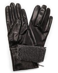 Carolina Amato - Shearling Cuff Leather Gloves - Black/Grey - Lyst