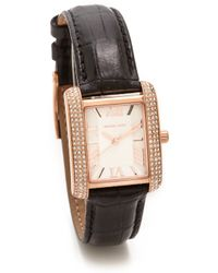 Michael Kors Mini Emery Watch Rose Goldblack - Lyst