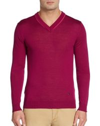 Versace Wool V-neck Pullover - Lyst