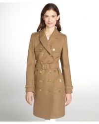 Burberry Brit Dark Malt Cotton Double Breasted Belted Trench Coat - Lyst