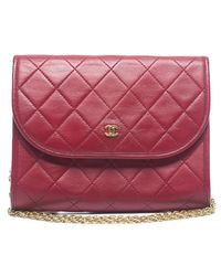 Chanel Preowned Red Lambskin Quilted Vintage Mini Flap Bag - Lyst