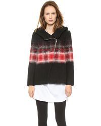 Thakoon Addition Hooded Trapeze Ombre Jacket Redblack - Lyst