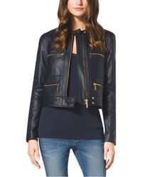 Michael Kors Cropped Leather Jacket - Lyst