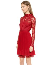 Notte By Marchesa Lace Cocktail Dress - Red - Lyst