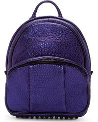 Alexander Wang Indigo Metallic Grained Leather Dumbo Backpack - Lyst