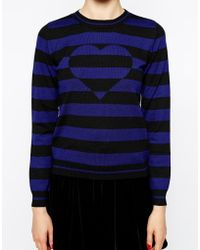 Love Moschino Long Sleeve Striped Jumper with Heart Detail - Lyst