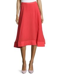 Philosophy di Alberta Ferretti Pleated Skirt W Banded Hem - Lyst