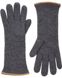 Barneys New York Gray Double-knit Gloves - Lyst