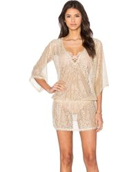 Queen & Pawn - Ibiza Metallic Lace Tunic Cover Up - Lyst