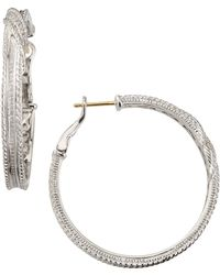 Judith Ripka - Pave Linen Hoop Earrings - Lyst