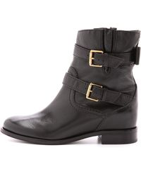 Kate Spade - Sabina Flat Moto Boots - Dark Taupe - Lyst