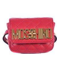 Moschino Red Leather Mini Wrist Bag red - Lyst