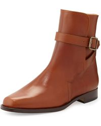 Manolo Blahnik Sultana Buckled Flat Ankle Boot - Lyst