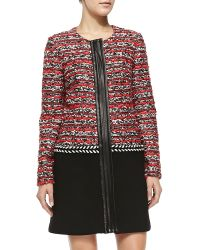 Milly Couture Tweed Multimedia Coat - Lyst