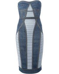 Hervé Léger Blue Bodycon Dress - Lyst
