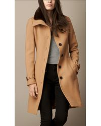 Burberry Wool Blend Twill Coat With Shearling Topcollar - Lyst