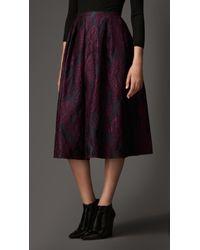 Burberry Floral Jacquard Pleat Detail Skirt - Lyst