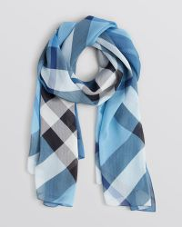 Burberry Colorblock Check Silk Chiffon Scarf - Lyst