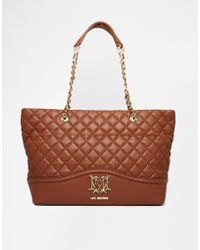 Love Moschino Large Quilted Shopper Bag In Tan - Lyst