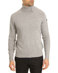 Armani Jeans W16 Roll-Neck Sweater In Grey Cashmere Wool With Black Leather Detail - Lyst