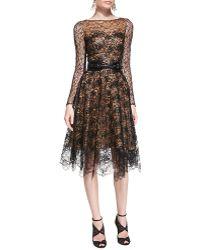 Oscar de la Renta Long-Sleeve Lace Overlay Dress - Lyst