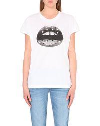 Markus Lupfer Lip-Print Cotton-Jersey T-Shirt - For Women white - Lyst