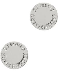 Marc By Marc Jacobs - Logo Disc-o Silver Tone Stud Earrings - Lyst