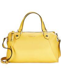 Calvin Klein Crosshatched Leather Satchel yellow - Lyst