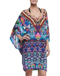 Camilla Batwingsleeve Printed Coverup Mini Dress - Lyst