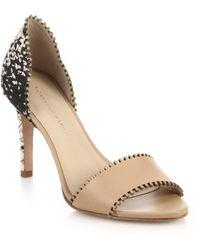 Loeffler Randall Leora Stitched Mixed-Media Sandals beige - Lyst