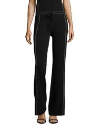 Donna Karan New York Contrast-Stitch Wide-Leg Pants - Lyst