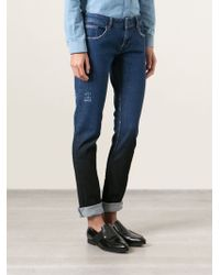 Filles A Papa Distressed Skinny Jeans - Lyst