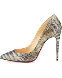 Christian Louboutin Pigalle Glitter Red Sole Pump Goldplatine - Lyst