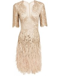 Matthew Williamson | Gold Lacquer Lace Feather Long-sleeve Dress | Lyst