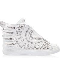 Roberto Cavalli - Optic White Leather Sneaker - Lyst
