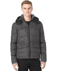 Calvin Klein Gray Hooded Jacket - Lyst