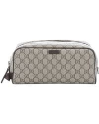 Gucci Ebony And Cocoa Canvas And Leather Trim 'Gg Supreme' Pouch - Lyst