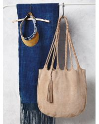 Free People Womens Decades Suede Tote beige - Lyst