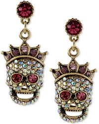 Betsey Johnson Goldtone Crystal Skull Drop Earrings - Lyst