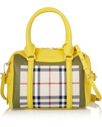 Burberry Prorsum - Little Bee Checked Canvas And Textured-Leather Tote - Lyst