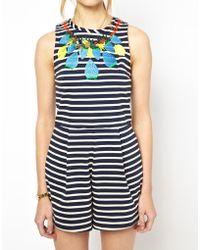 Mademoiselle Tara - Striped Playsuit with Embellishment - Lyst