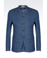 Armani Deconstructed Slim Fit Jacket In Cotton And Linen - Lyst