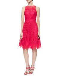 ML Monique Lhuillier Sleeveless Lace Cocktail Dress - Lyst