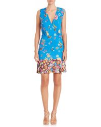 Emilio Pucci | Printed Silk Jersey V-neck Dress | Lyst