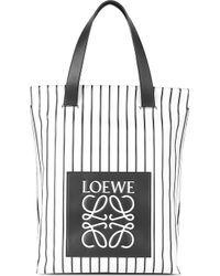 Loewe Striped Leather Shopper Bag - For Women - Lyst