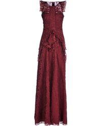 Burberry Prorsum Red Long Dress - Lyst