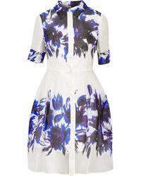 Milly Printed Silk-Organza Shirt Dress - Lyst